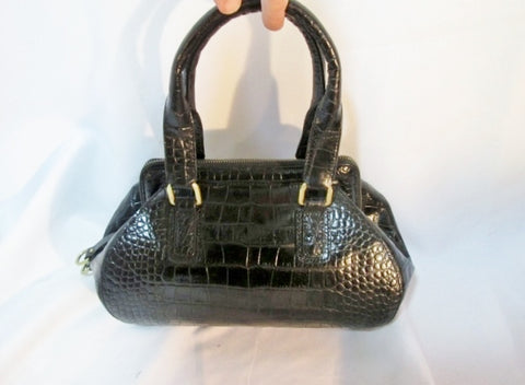 NEW COLE HAAN CROC Embossed Leather TOTE Satchel Bowler Clutch Bag BLACK Medical