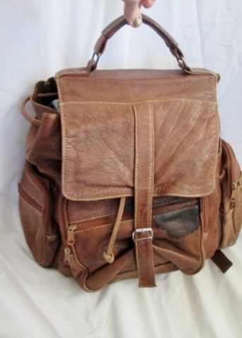 34 STREET All Leather Drawstring BACKPACK Shoulder Rucksack Travel BAG BROWN Boho