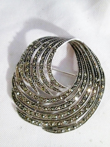 Signed 925 STERLING SILVER Swirly Wave BROOCH PIN MARCASITE Nouveau Deco Tooth