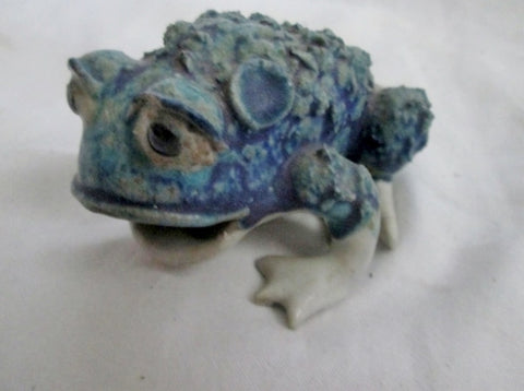 "Handmade Mini 3.5"" FROG TOAD Ceramic Figurine Porcelain Scuplture GREEN BLUE Cute"