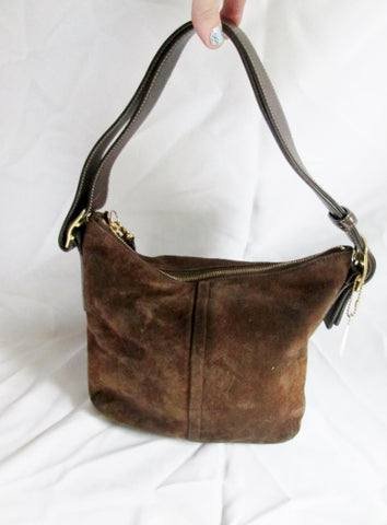 COACH 9327 Leather Suede Hobo Duffel Bucket shoulder bag purse BROWN satchel