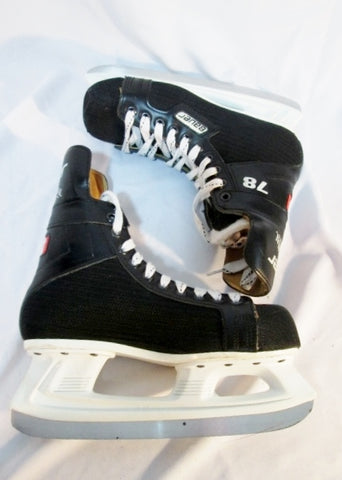 Youth BOYS BAUER INTERNATIONAL 78 Ice Hockey Skates Leather 6D BLACK