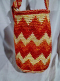 Woven Hobo Shoulder Bag Knit Vegan Handbag Purse Hippie Sling ZIGZAG STRIPE RED ORANGE
