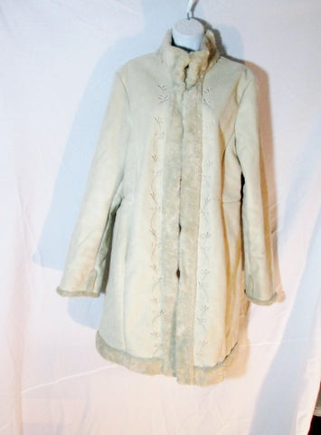 Womens BRAETAN SUEDE Shearling jacket coat parka BEIGE XL Tan Embroidered FLORAL
