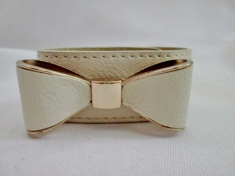 GOLD ECRU WHITE LEATHER Band Bracelet Wrist Cuff BOW Embellished Statement