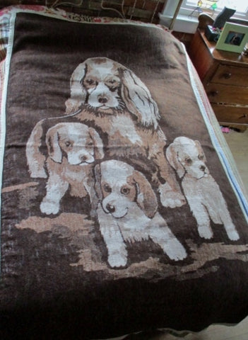 Vintage PUPPY DOG FLEECE Bedspread Blanket BROWN WHITE Throw Festival Picnic