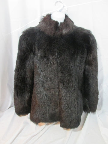 Vintage Womens RIVE DROITE Genuine GOAT Fur Parka Coat Jacket BLACK ESTATE FIND