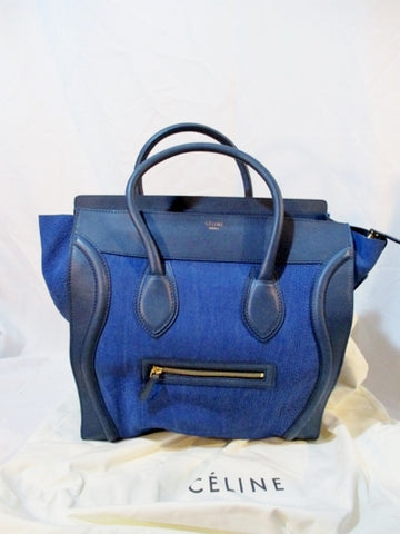 CELINE PARIS ITALY Leather MEDIUM SHOPPER Tote Bag ELECTRIC BLUE