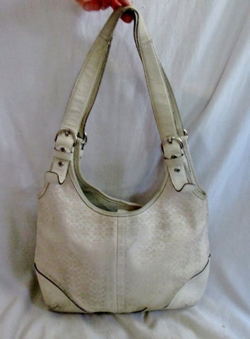 COACH 6800 SIGNATURE C Canvas Leather Hobo Handbag Satchel Purse WHITE M