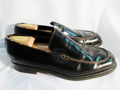 Mens GIORGIO ARMANI ITALY Patent Leather Slip On Shoe 12 BROWN Moc Loafer