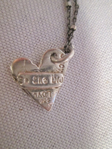"925 STERLING SILVER HEART ""SHE BELIEVED SHE COULD LOVE"" NECKLACE CHOKER Thrive"