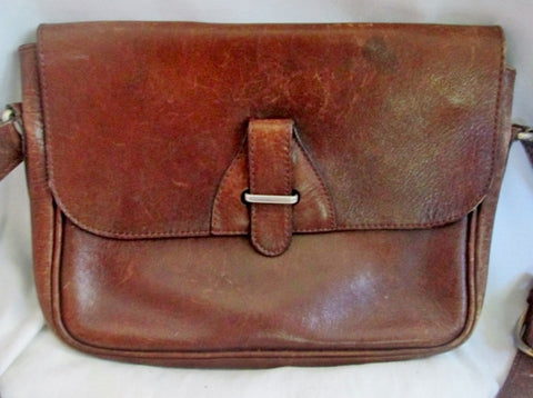 Boutique Distressed Flap Saddle Bag Leather Man Purse Shoulder Bag Crossbody BROWN