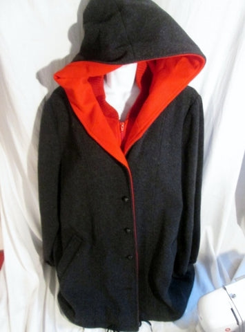 Womens Authentic Mackintosh Vest Coat Vestcoat CHARCOAL GRAY RED 4 Jacket HOOD