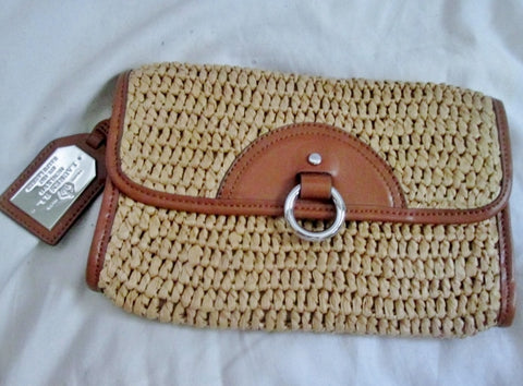 Authentic RALPH LAUREN Woven RAFFIA Leather purse clutch bag COGNAC BROWN