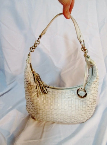 ELLIOTT LUCCA leather woven shoulder handbag purse hobo bag WHITE