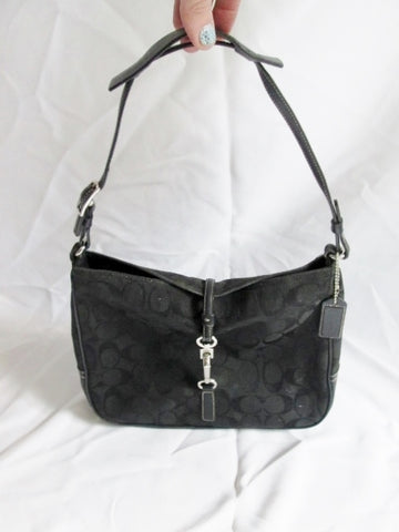 COACH 6091 SIGNATURE HAMPTON CLIP Jacquard HOBO SHOULDER BAG BLACK