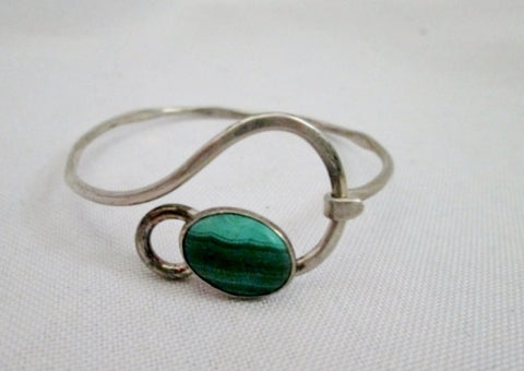 925 STERLING SILVER MALACHITE STONE Swirl Arts Crafts Bracelet Cuff Bangle GREEN Hinged Statement