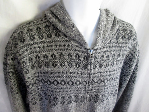 Mens GAP SAN FRANCISCO Knit Ski Sweater Cardigan Nordic XXL Ethnic GRAY Hoodie Fair Isle
