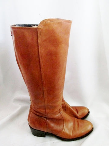 UNITED COLORS BENETTON Knee High LEATHER Moto RIDING BOOT BROWN 38 7.5