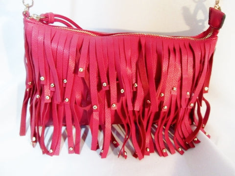 NEW DS BAGS Hippie faux leather fringe indie satchel shoulder bag crossbody purse RED