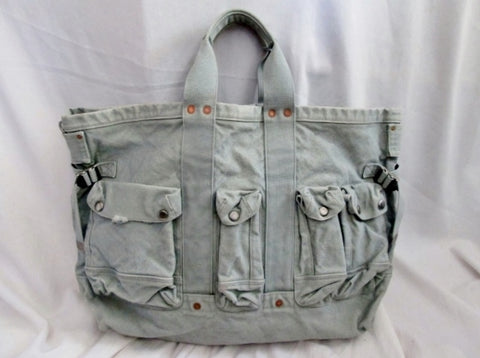 CANVAS DENIM Cargo Tote Copper Rivet Carryall Shopper Tool BLUE Bag XL Gardening