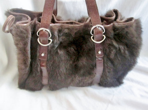 KENNETH COLE RABBIT FUR Leather Purse Tote Satchel Clutch Shoulder Bag BROWN