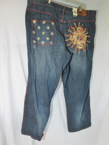 NEW NWT Mens PELLE PELLE JEAN Denim PANT BLUE 52 X 34 Hip Hop SUN Embroidered