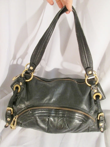 B. MAKOWSKY Buttery Soft Croc Pattern Leather TOTE carryall satchel bag BLACK