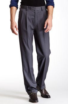 NEW MENS LOUIS RAPHAEL TAILORED MID GREY MONTI HERRINGBONE Stripe PANTS 44X32 GRAY
