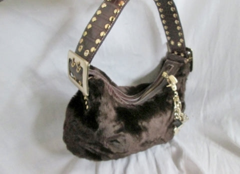 KATHY VAN ZEELAND Faux FUR Vegan Purse Hobo Satchel Clutch Shoulder Bag BROWN
