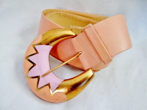 NEW NWT NINA RICCI PARIS FRANCE Womens Leather Belt APRICOT PEACH PINK XS