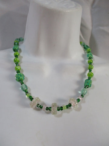 "18"" Handmade EYE Glass Bead Necklace Choker MILLEFIORI GREEN CLEAR Statement"