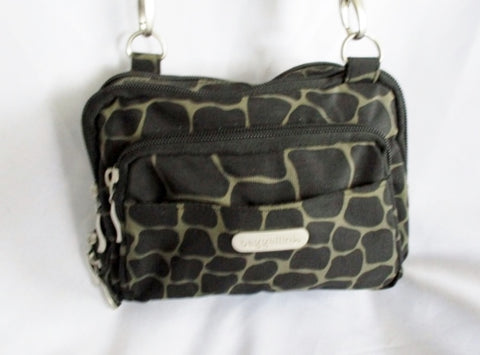 BAGGALLINI GIRAFFE shoulder travel flap bag mini purse crossbody BLACK BROWN Nylon