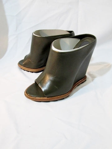 NEW CAMILLA SKOVGAARD DARK GREEN MULE WEDGE Shoe Nappa 36.5 6