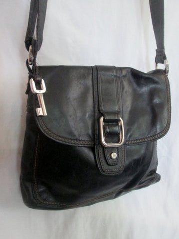 FOSSIL leather messenger satchel shoulder hobo saddle flap bag BLACK M key