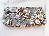 NEW VERA BRADLEY Quilted Purse Wallet Clutch Bag BROWN GRAY BLUE FLORAL Leaf