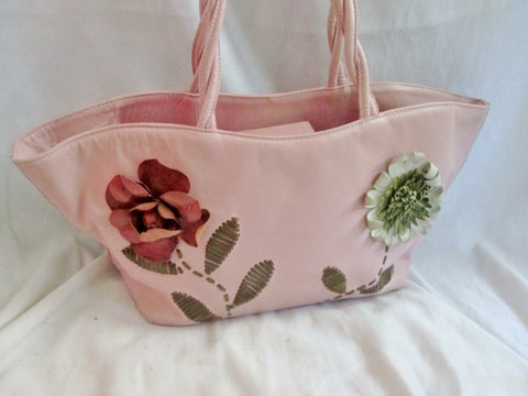PAOLO MASI ITALY Textured LEATHER FLORAL Tote Bag Shopper Carryall PINK Stitched
