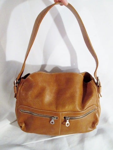 CHRISTOPHER KON Leather Shoulder Saddle POCKETS BAG Hobo slouch BROWN COGNAC
