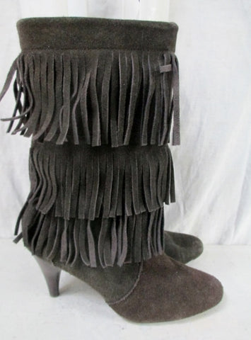 EUC Womens CHINESE LAUNDRY Suede Fringe Boots Booties Moccasin Hippie 6 BROWN Shoe