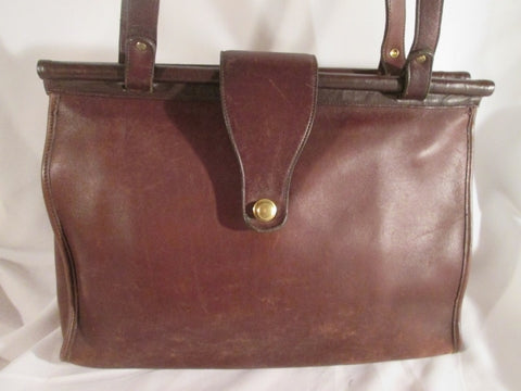 Vintage COACH 9896 BARCLAY Leather Turnlock Flap Crossbody Shoulder Bag BROWN Briefcase