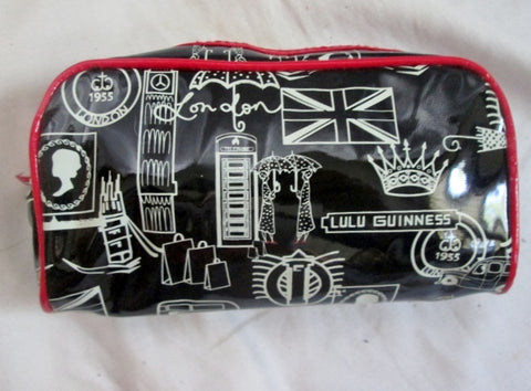 LULU GUINNESS LONDON GREAT BRITAIN Cosmetics Case Makeup Bag Organizer BLACK Vegan