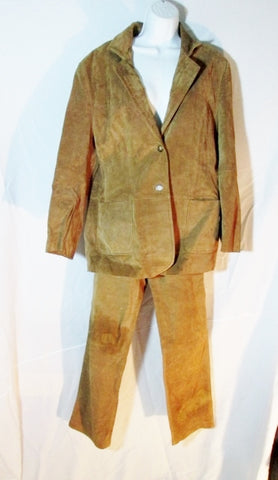Womens ST. JOHN'S BAY Suede Leather SUIT JACKET Pant BLAZER BROWN 10 XL