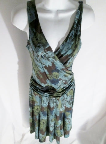 Womens BCBGMAXAZRIA BODYCON Ethnic Clingy DRESS S Gray Blue Black Green