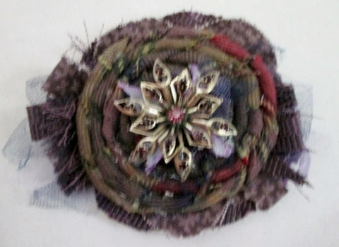 OAK LANE FLOWER Jewelry Brooch Pin PURPLE Jewel Encrusted Cloth Mixed Media Hippie