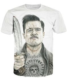 NEW RAGE ON RageOn! BRAD PITT BASTERDS T-Shirt Tee WHITE 2XL XXL Knife Touch