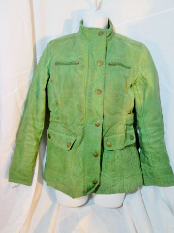 Womens BODEN Coated Wax Cotton Jean Jacket Moto Coat 10 GREEN Pockets Boho