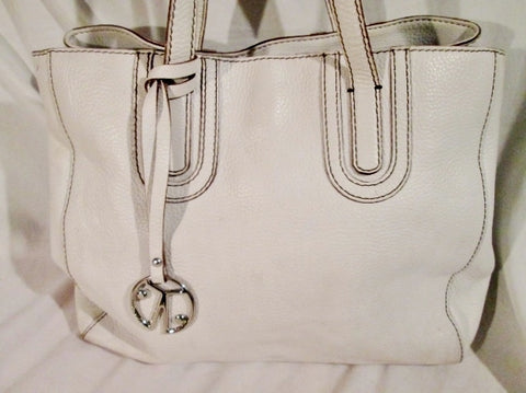 COCHINELLE Pebbled Leather Tote Handbag Satchel Purse WHITE Stitch CARRYALL