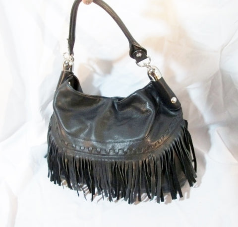 B. MAKOWSKY Leather hobo satchel shoulder bag BLACK FRINGE Sling Boho