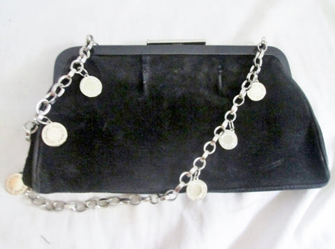 ADRIENNE VITTADINI SUEDE LEATHER shoulder bag purse evening Clutch BLACK Chainlink