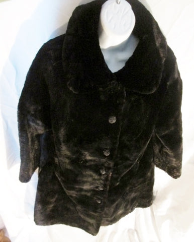 Vintage WOMENS BRENNER BROS. RABBIT FUR maxi jacket coat parka BLACK M